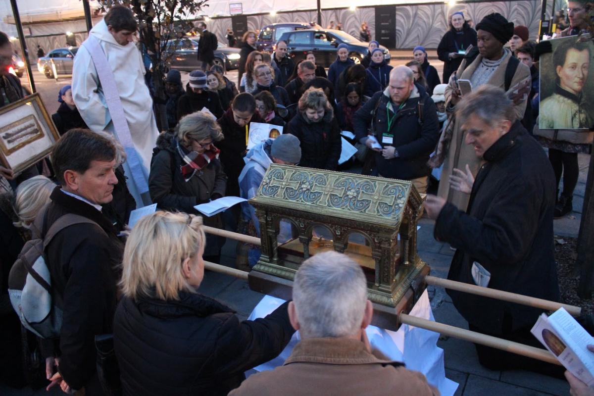 Tyburn Tree, lieu des martyrs, avec les reliques