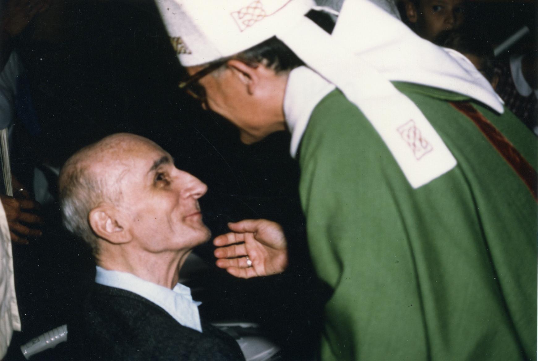 Albert-Marie de Monléon et Pierre Goursat, rencontre communautaire 1990