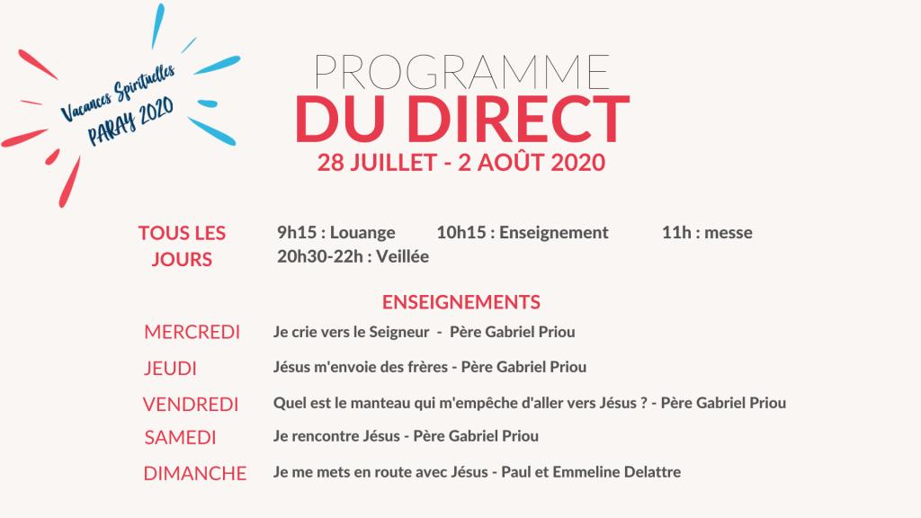 Programme du direct Paray 2020 1