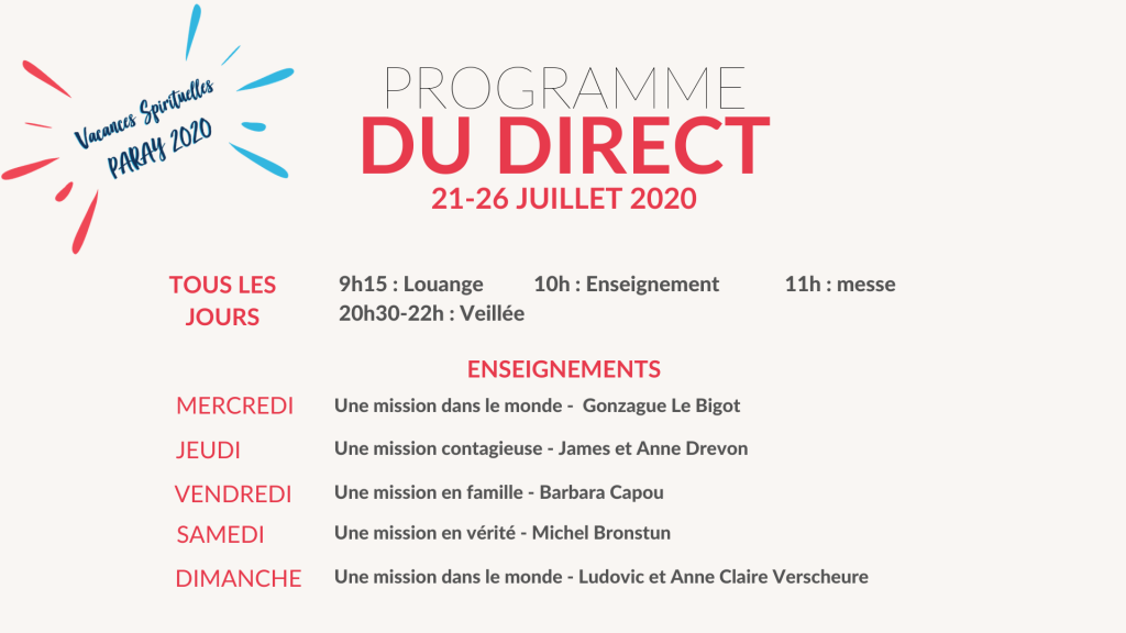 Programme du direct Paray 2020
