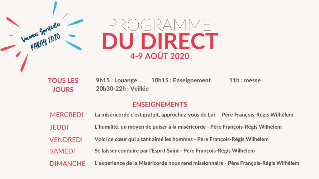 Programme du direct Paray 2020 2