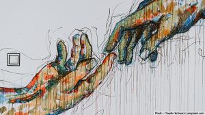 Vignette mains Vinci Sixtine dessin unsplash