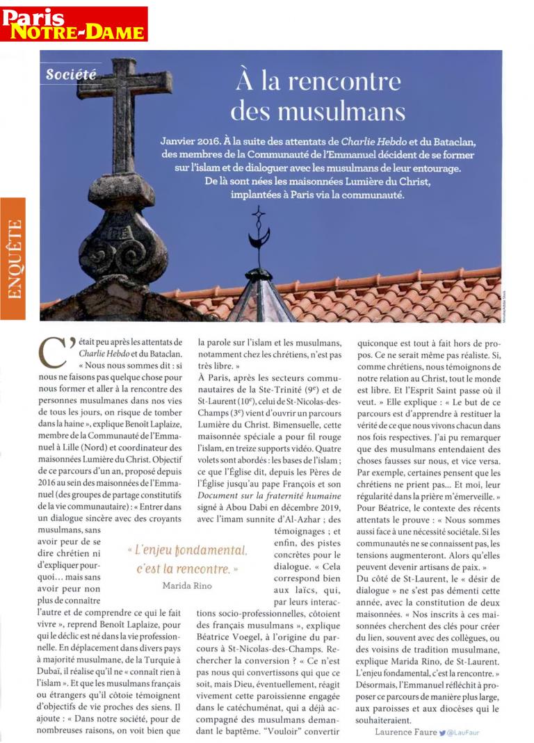 PARIS NOTRE DAME 07 janvier 2021 A la rencontre des musulmans